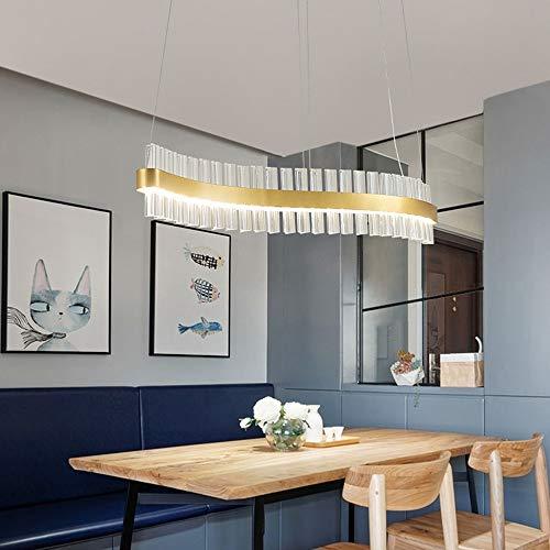 BICCQ lámparas de araña Creativo Restaurante De Tira De Arco De Vidrio LED Lámpara De Araña De Lujo Barra De Oro Cajero Sala De Estar Dormitorio Simples Lámparas Decorativas (Size : 90 * 15cm)
