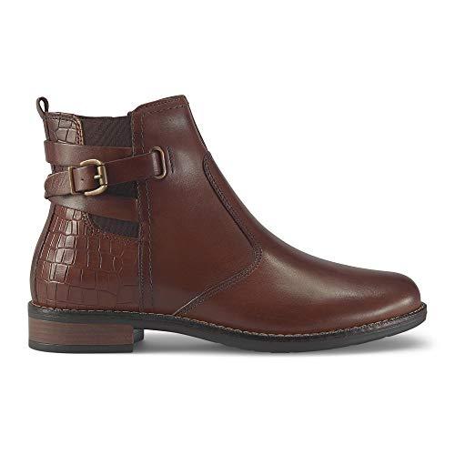 DRIEVHOLT Damen Leder-Stiefelette, Trendige Boots in Braun mit Deko-Schlaufe, lässigem Riemchen und Kroko-Prägung am Schaft Braun Glattleder 39
