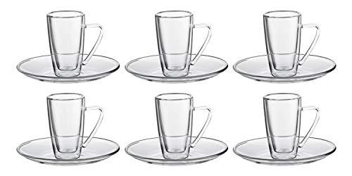 Pirex collection set 6 tazze e sottotazze caffè in vetro pirex doppia camera