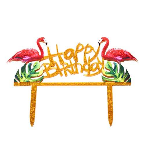 Toyvian Geburtstag Kuchen Topper mit Happy Birthday Flamingo Cake Decoration für Geburtstags Party Dekoration