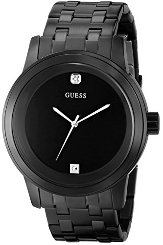 GUESS Black Ionic Plated Genuine Diamond Dial Bracelet Watch. Color: Black (Model: U12604G1)