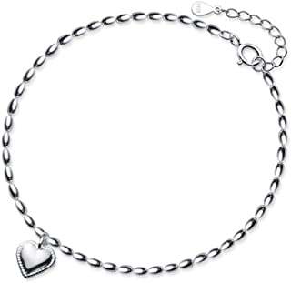 Heart Dangling Charm Anklets Sterling Silver S925 Minimalist Ball Bead Dangle Sexy Cute Ankle Bracelet Foot Chain Anklet B...