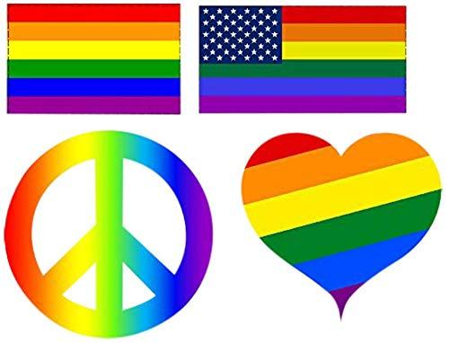 4 Pack Verschillende hart Vrede Teken Regenboog Vlag Auto Decal Bumper Sticker Gay Pride LGBT Gay Lesbische Biseksuele Transgender Ondersteuning (Complete Set)