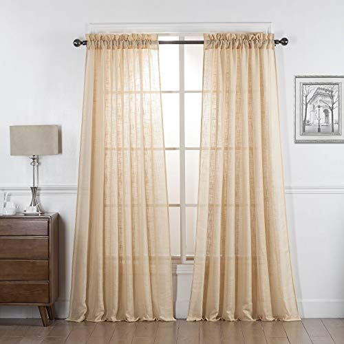 DiamondHome Gold Semi Sheer Curtains 63 Inch Long, Light Reducing Sheer Privacy Curtains, Sheer Linen Curtains Window Treatment Drapes, Gold, 2 Panels
