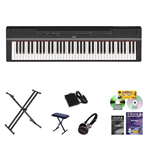 Nieuwe Model Yamaha P121 Digitale Stage Piano in Zwart NU MET DUBBEL XX STAND, BENCH, HEADPHONES, BEGINNER'S BOOK, CD & DVD, voeding & muzieksteun