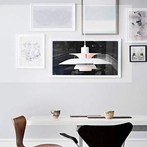 Pendelleuchte Weiss Aluminium Schatten Nordic Stil Pendellampe Esszimmer Esstisch Schlafzimmer Hängeleuchte Designer Vintage E27 Höhenverstellbar Innen Dekorativ Aufhängung Beleuchtung