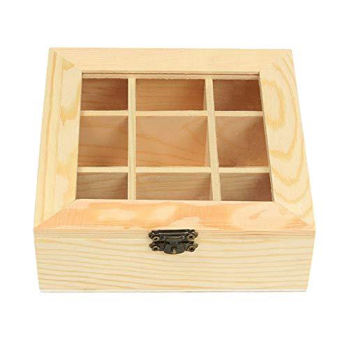 WOVELOT Bolsa de Te de Madera Organizador de Joyas Caja de Almacenamiento de Pecho 9 Compartimientos Caja de Te Organizador Contenedor de Paquetes de Azucar de Madera