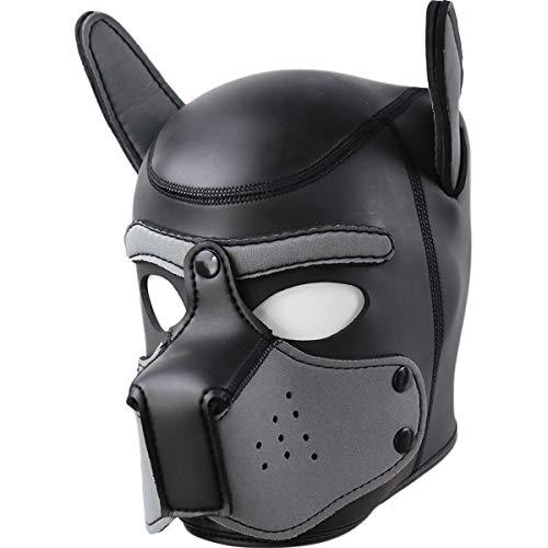 AmaMary Sexy Cosplay Mascara de Perro, Cabeza Completa Juego de rol de Perro Máscara de Perro con Orejas Máscara Látex Animales Máscara Adultos (Gris Nuevo)