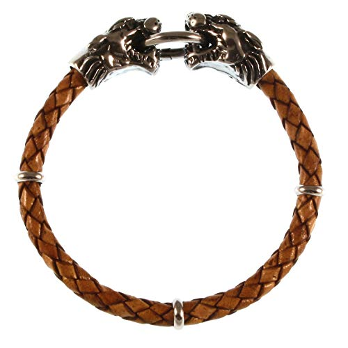 WAVEPIRATE® Echt Leder-Armband LÖWE Lion F Cognac 19 cm Edelstahl-Verschluss in Geschenk-Box Surfer Männer Herren