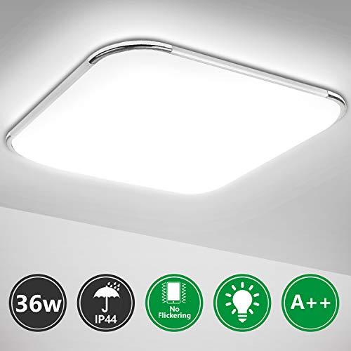 Hengda Plafon led de techo, 36W lamparas de techo habitacion, Moderna LED Plafón para Sala de Estar Baño Dormitorio Cocina Balcón Pasillo Comedor IP44, Blanco frio