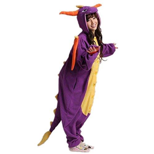 Regenboghorn Unisex Einhorn kostüme, Schlafanzug, Pyjama,für das Halloween ,Karneval und Weihnachten mit der Kapuze (XL, lila Drache)