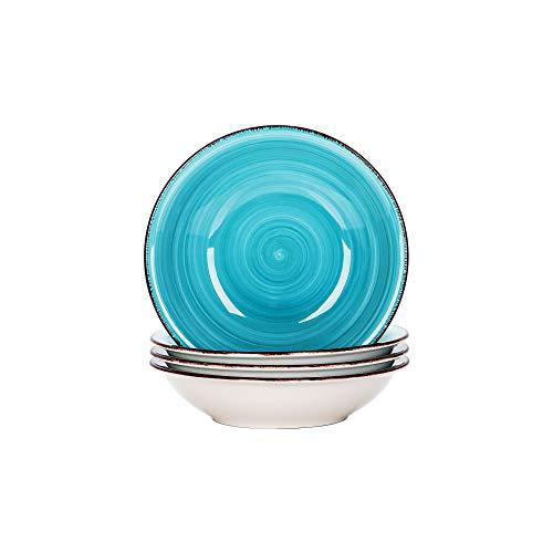 vancasso Serie Bella Platos de Sopa 4 Piezas 700ML Juego de Platos Hondos de Gres, Vajillas Esmaltada Retro, Azul