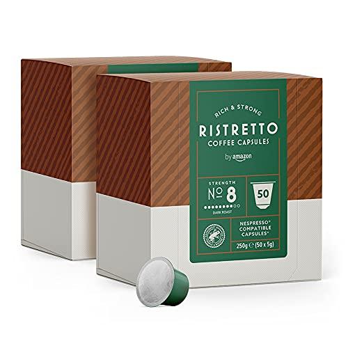 by Amazon Capsule Ristretto, compatibili Nespresso - 100 capsule (2 x 50)