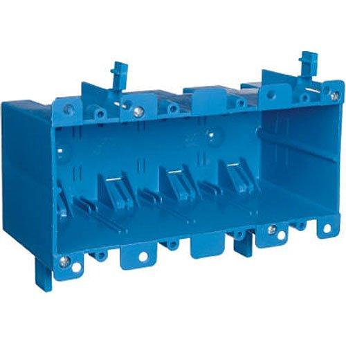 Carlon B468R Work Outlet Box, 4 Gang, 7.57-Inch Length by 2.89-Inch Width by 3.56-Inch Depth, Blue