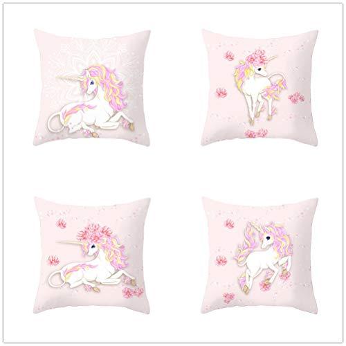 4 Pack Fundas de Cojín Unicornio rosa Terciopelo Suave Funda de Almohada Cuadrado Fundas de Cojines para Sofá Cama Dormitorio Coche Sillas Decoración Hogar Throw Pillow Case E4102 60x60cm/23.4x23.4in