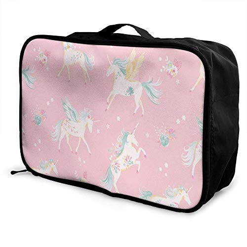 Unicorn Paable Travel Duffel Bag Folle Carry Storage Lage Tote Lightweight Large Caity Portable Lage Bag for Suitcase Trolley Handles
