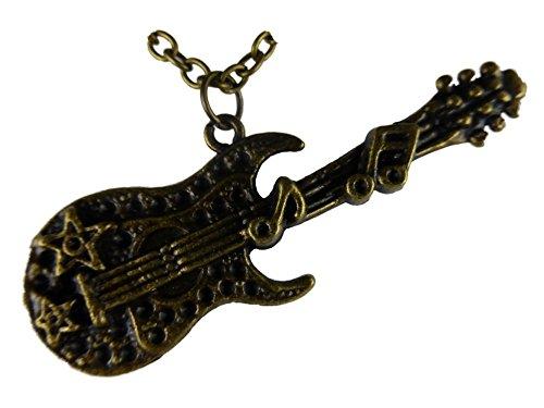 Halskette Kette Musik Note Notenschlüssel messingfarben Gitarre Saite Konzert 746