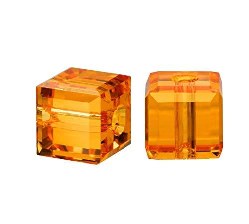6pcs Swarovski 8mm #5601 Cube Topaz Crystal beads for Jewelry Craft Making (November Birthstone) SWAC807