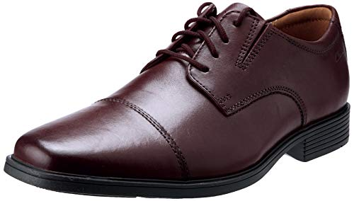 Clarks Men's Tilden Cap Oxford, Wine Leather, 9.5 M US