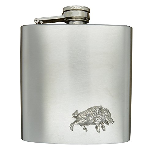 Luxus Edelstahl Flachmann 6 Unzen (180 ml), Mit Zinn Wildschwein Abzeichen, Handgemacht von William Sturt