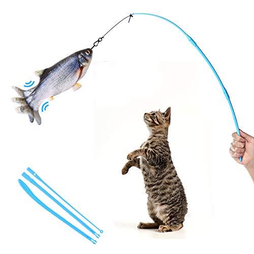 LIUMY Elektrisches Katzenspielzeug Fisch Set, NEU mit USB Charge Simulation Plüsch Puppe Fisch, Upgrade Interaktive Katzenminze Fisch mit Teaser Zauberstab