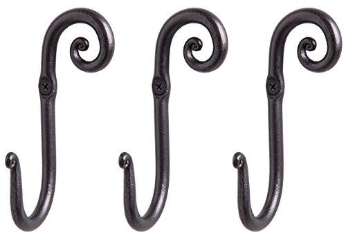 Decorative Stylish Wall Mounted Hooks, 3 Handmade Wrought Iron Right Swirl Hangers for Coat, Hat, Jacket, Robe, Bath Towel | Mug Hooks | Black Scroll Hangers | Handcrafted by RTZEN-Décor