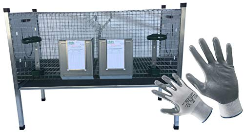 Montidistribuzione Gabbia Conigli Ingrasso Conigliera Rabbit Base a 2 Scomparti. Sovrapponibile e Predisposta per i Nidi. Omaggio Guanti da Lavoro