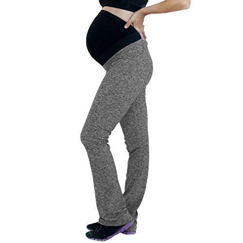 hongxin Umstandshose Geradem Bein Yogahose mit extra Bauch-Panel Einfarbig Casual Umstandsmode