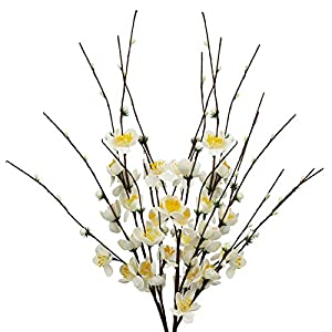 Uieke 4 Pcs 23.6″ Long Jasmine Artificial Flowers Winter Jasmine Faux Berries Fake Flower for DIY Floral Art Plant Home Office Party Decoration White