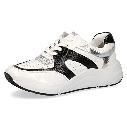 CAPRICE Damen Schnürhalbschuhe 23501-24, Frauen sportlicher Schnürer, lose Einlage, Ugly-Sneaker dad-Shoe Chunky-Sneaker,White/Black,39 EU / 6 UK