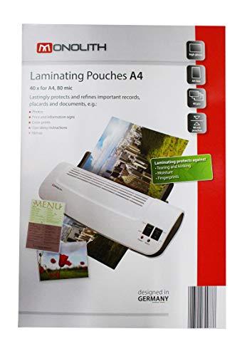 monolith 8991A40003 Laminierfolien DIN A4, quer, 80 mic, 40er
