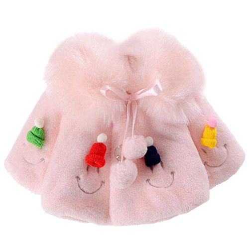 Longra Baby Mode Mädchen Jacke Dicker Mantel Warm Wintermantel Oberbekleidung Outwear Baby Prinzessin Winterjacke Fleecejacke Faux Pelzjacke Pelzmantel (0-24Monate) (90CM 24Monate, Pink)