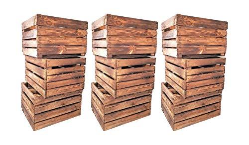 Geflammte Holzkisten im Set-Angebot: Originale, Vintage Obstkisten Apfelkisten aus dem Alten Land zum Möbelbau oder Dekoration mit den Maßen 50 x 40 x 30cm (9er Set)