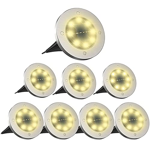 Solar Ground Lights, Upgraded Brighter Waterproof Solar In-Ground Disk...
