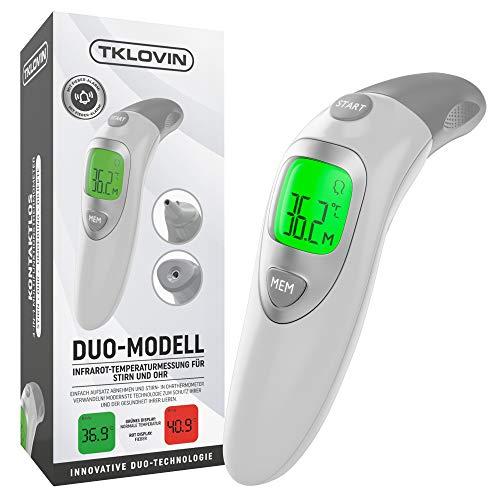 TKLOVIN Termómetro médico infrarrojo profesional con advertencia de fiebre, lectura instantánea, monitoreo clínico, aprobado por la FDA y CE (Blue2)