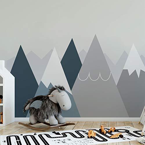 Wandaufkleber, selbstklebend, für Kinder, Riesen-Dekoration, skandinavische Berge für Kinderzimmer, Anouka, 50 x 120 cm