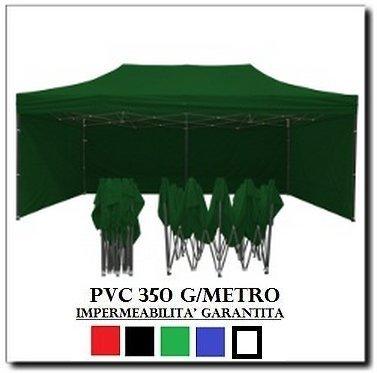 RAY BOT Gazebo Pieghevole 3X6 Verde Acciaio + 4 Teli Laterali PVC 350 g Metro