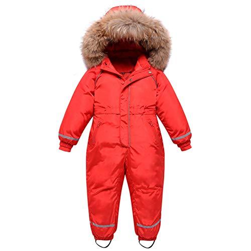 mama stadt Kinder Schneeanzug Daunenjacke mit Kaputze Mädchen Jungen Wasserdicht Skianzug Winteroverall Rot/140