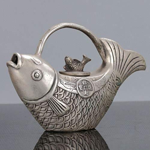 JLXQL Skulpturen Statuen Sammlerstücke Chinesisches Silber Handarbeit Koi Fisch Karpfen Goldfisch Teekanne Teeservice Wassertopf