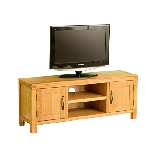 Roseland Furniture Abbey Waxed Oak Large TV Unit Stand for Living Room or Bedroom | 120cm Rustic Modern Solid Wood Television Cabinet up to 54 inch Screens | Fully Assembled