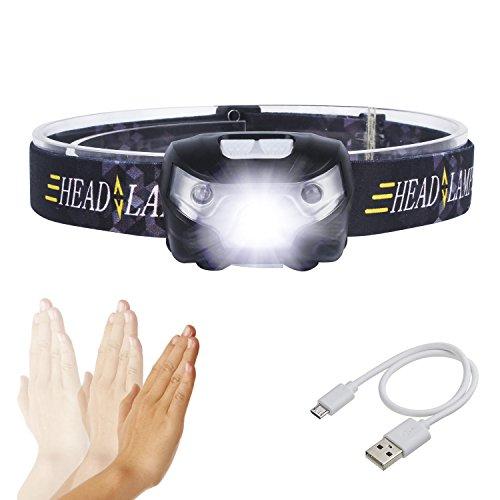 S SUNINESS LED Stirnlampe - Super Bright 8000 Lumen Rechargable wasserdichte Stirnlampe mit verstellbarem Strap 5 Cree LEDs und 4 Modi für Outdoor-Wandern Camping Jagd Angeln Laufen