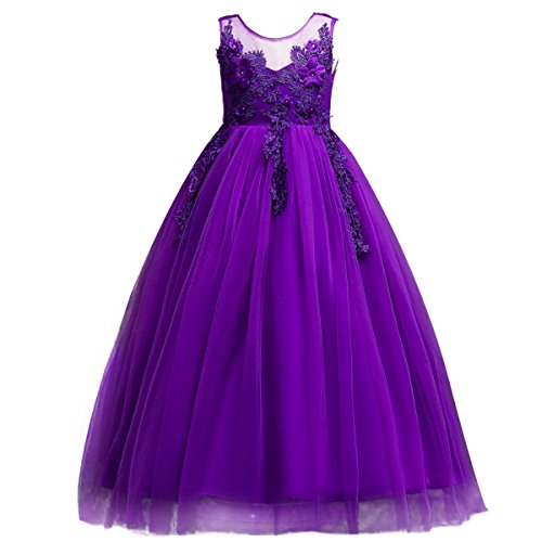 Little Big Girl Bridesmaid Pageant Flower Princess Wedding Formal Prom Floor Long Tulle Dress 7-16T Dance Evening Maxi Gown Purple 13-14 Years