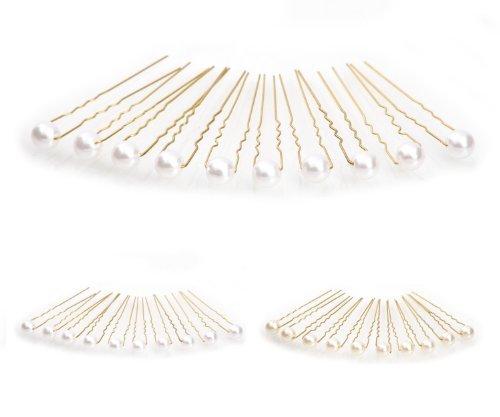 10 x Perlen Haarnadeln - Brauthaarschmuck, Haarschmuck, Perlenhaarnadel   10PG-Weiss