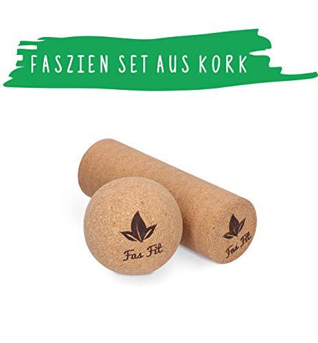Faszien Fitness Set aus Kork: Faszienball + Faszienrolle - inkl. Poster, Übungsheft, E-Book und Tasche - für Faszientraining, Yoga, Pilates - nachhaltig, Haut- und umweltfreundlich! (2er Set)