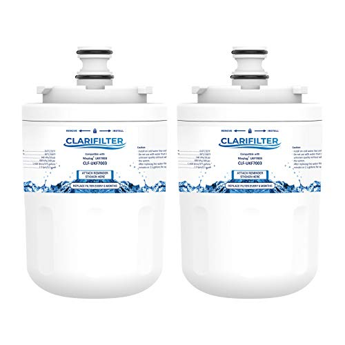 Clarifilter UKF7003 Wasserfilterpatrone für Kühlschrank kompatibel mit Maytag UKF7003; Whirlpool EDR7D1; Smeg FSRA 763410342; Beko AP930; Leisure APL13963B; Lamona HJA6100; NF1-650 SBSB1030 WF288 (2)