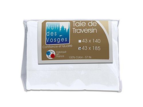 Nuit des Vosges 2094725 Cotoval Taie de Traversin Uni Coton Blanc 43 x 185 cm
