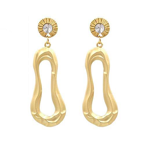 Orecchini da donna, sezione lunga geometrica, metallo, placcato in oro, diamanti sfusi, orecchini gioielli regalo