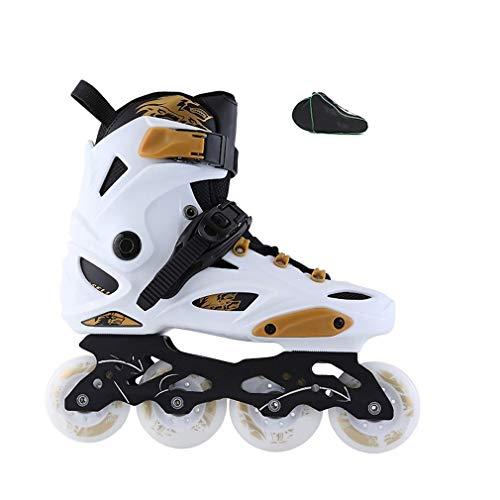 LDM Inline Skates, Adult Beginners Inline Skates Detachable Alloy Knife Holder Black, White (Color : White, Size : 42 EU/9 US/8 UK/26cm JP)