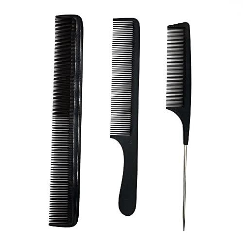 SIYI-XIU 3Pcs Peluquería Peine Pelo Peine de Corte de Pelo Peinado para Peluqueros Antiestático Resistente al Calor Peine,Negro