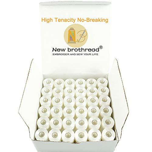New brothread 144pcs Blanco 70D/2 (60WT) hilo de la bobina Plastica Size A (SA156) para maquina de bordar y coser Hilo de coser hilo de poliéster